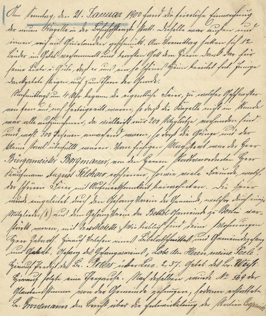 Scan des Protokolls zur Einweihung Kapelle 21.01.1900