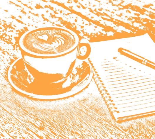 Kaffeetasse mit Notizblock